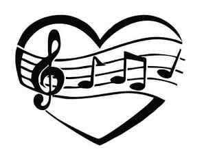 Herz mit Noten sw