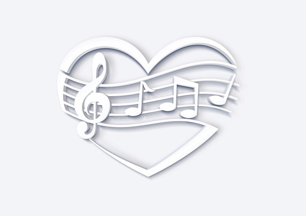 Herz mit Noten weiß